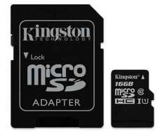 Kingston muistikortti 16GB class 10 + adapteri